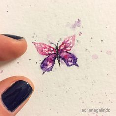 Little love, miniature watercolor butterfly / Amor em miniatura, aquarela borboleta miniatureart painting pintura illustration ilustracao Shop: drigalindo1@gmail.comAdriana Galindo