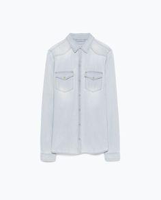 Image 8 of BLEACHED DENIM SHIRT from Zara