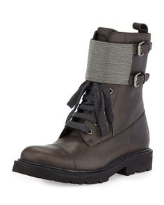 Lace-Up Monili Combat Boot, Graphite by Brunello Cucinelli at Neiman Marcus.2045$ 14-15