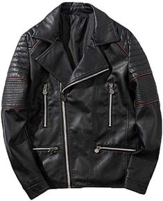 Gocgt Mens Classic Jacket Pu Leather Motorcycle Biker Jacket Zipper Coat