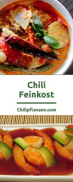 In der Gourmetküche werden Chilis immer beliebter. Feinkost-Abteilungen bieten eine reichhaltige Palette an hochwertigen Chiliprodukte an. Ob Chilisalz von Spitzenköche, Würzöl, Chilisaucen in süß, sauer, scharf und unzählige Pasten von besonderen Chilischoten. Trotz oder wegen der atemberaubenden Schärfe zelebrieren Gourmets nicht nur häppchenweise pikante Gerichte. Chili Sauce, Chilis, Food Items, Thai Red Curry, Palette, Foods, Vegetables, Ethnic Recipes, Shopping