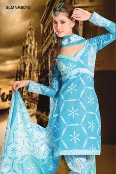 $41 Pastel Blue Cotton Salwar Suit From Cbazaar