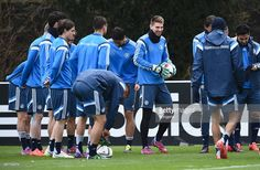 Goalkeeper RonRobert Zieler smiles during a Germany training session ahead of their Euro 2016...