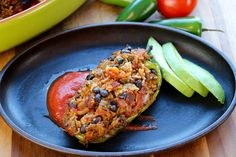 Vegan Stuffed Peppers The Buddhist Chef Vegan Mexican Recipes, Organic Recipes, Vegetarian Recipes, Healthy Recipes, Healthy Food, Whole Food Recipes, Snack Recipes, Cooking Recipes, Vegan Stuffed Peppers