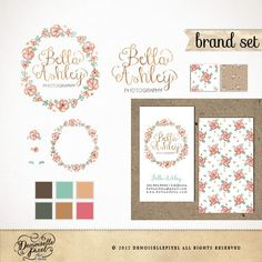 Branding Package Custom Premade Logo Set / Watercolor Hand drawn wreath / with Business Card by Demoisellepixel on Etsy