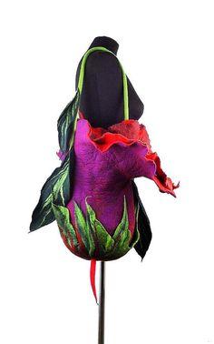 Felted Bag Handbag Purse wild Felt Nunofelt Nuno felt ♡ Handmade Floral Fantasy Bag -Eco Fashion Shoulder Bag - Purple & Pink Flower Bud Boho Bag by 'filcant' on Etsy♥♡♥