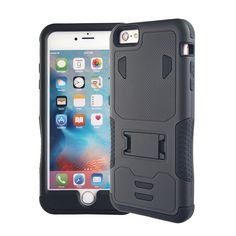 iPhone 6 6S Case, Tough Rugged Shockproof Crashproof Armor Box Dual Layer Hybrid Hard and One Soft Silicone Protective Case (iPhone 6/6S Balck+Black). Unique, Rugged Design with Style and The Utmost Protection. Shock-Absorbing Thick Layers Comprised of Silicone (Inner) and polycarbonate (Outer) for Extra Protection. Raised Edge Around the Front Lip for Tough Face-Down Protection. Extreme Protection from Drops and Scratches Without Sacrificing the Stylish Look. Unique, Slide-Out Kickstand…