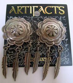 Silver Concho Earrings w/feather dangle charms-Vintage Jonette Jewelry-SALE $18.00 #sideffectsny Etsy