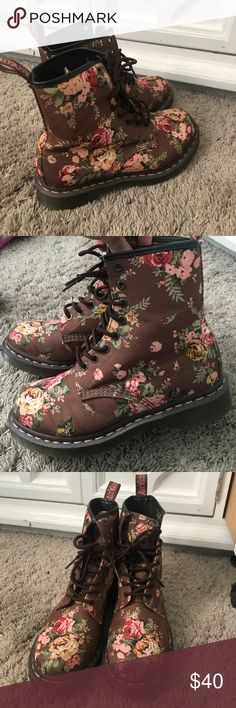 Floral Dr. Martens, never worn Floral print Doc Martens. Never worn, no tag or box. Women's size 7. Perfect condition! Brown background with vintage floral print. Make an offer! Dr. Martens Shoes Combat & Moto Boots