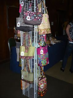 For a recent craft show, I needed to come up with a handbag display fixture that took up a very small amount of floor space.  It needed to b...