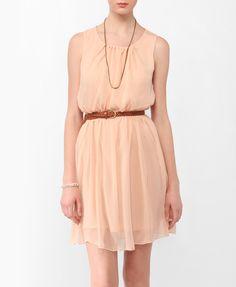 Shirred Crepe Chiffon Dress w/ Belt | FOREVER21 - 2000041042