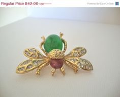 CIJ Jelly Belly Vintage Bug BroochPin in Apple by CrimsonVintique, $33.60