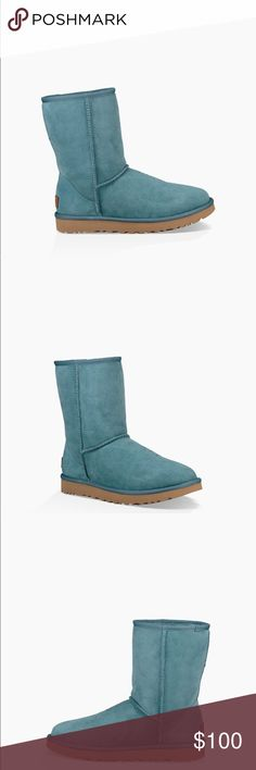 UGG NWOT NEVER WORN This beautiful Teal color absolutely no damage never worn besides to try on for size these are UGG Classic Short. Will add more pictures later on for your viewing pleasure UGG Shoes