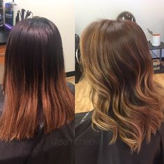 Before and after// Asian hair types // brown to blonde balayage ombré for dark brown and black hair types / Indian / Hispanic / Latina / Asian