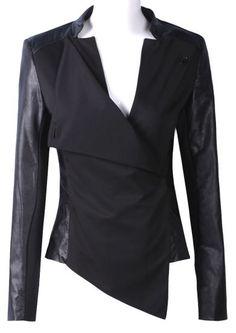 Black Contrast PU Leather Long Sleeve Crop Jacket