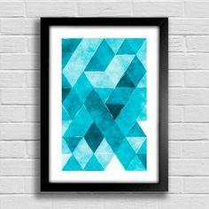 Poster Triângulos Azuis - comprar online