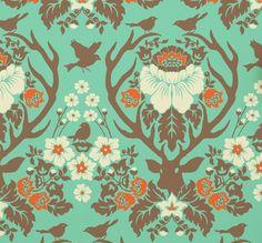 Joel Dewberry Wallpaper Republic's Antler Damask Wallpaper Luxury Wallpaper, Damask Wallpaper, Wallpaper Ideas, Designer Wallpaper, Downstairs Loo, Antlers, Home And Garden, Farmhouse, Cabin