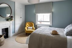 Interior Design by Imperfect Interiors in this pretty guest bedroom in Barnes, South London. Newly installed cast iron radiators round metal mirror & linen Roman blinds combined w 1930s House Interior, Interior, Sanctuary Bedroom, Home Bedroom, Bedroom Interior, Decor Interior Design, Blue Bedroom, Interior Design, Interior Design Bedroom