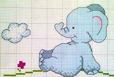elefante tra le nuvole - punto croce - cross Stitch - Kreuzstich - Punto de Cruz Cross Stitch Boards, Cute Cross Stitch, Baby Cross Stitch Patterns, Crochet Blanket Patterns, Elephant Blanket, Baby Elephant, Cross Stitching, Cross Stitch Embroidery, C2c