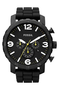 Fossil 'Nate' Silicone Strap Watch available at #Nordstrom