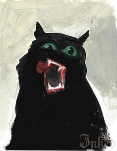 Blake Paul Neubert aka Blake Neubert (American, b. Glenwood Springs, CO, USA) - Ryan's Cat (Commission), Paintings Arte Horror, Horror Art, Guache, Monster, Traditional Art, Dark Art, Art Inspo, Art Reference, Concept Art