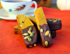 Pumpkin Biscotti dipped in chocolate, these are cookies are a little chewy in the middle with crunchy edges, which are perfect for dipping in tea or coffee.