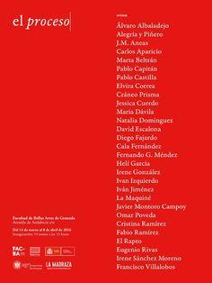 Este año volvemos a colaborar con la celebración de FACBA (Festival de las Artes Contemporáneas de Bellas Artes). Dentro de este evento se inaugurará la exposición «El proceso» con una nómina de artistas en la que se presentan trabajos de antiguos (Alumni) y actuales estudiantes de la Facultad de Bellas Artes de Granada. El lunes 14 de marzo, a las 13 horas, estáis invitados a la inauguración. Además se presentará la publicación asociada a la exposición. #FACBA #ElProcesoUGR