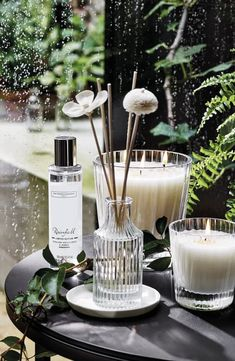 Rainfall Collection, The White Company Spring Candles and Fragrance - Different and Beautiful Ideas Perfume Diesel, Spring Shower, Miniature Bottles, Large Candles, The White Company, Perfume Oils, Jars, Decorating Bathrooms, Hotels