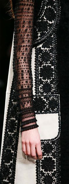 Valentino.~ Black + White Embroidery Details Fall 2015.