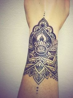 Beautiful Black Mandala Wrist Tattoo | Best tattoo design ideas