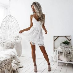 Cheap Fresh V-neck Hollow Stitching Backless Sling Flower Lace Summer Dress For Big Sale!Fresh V-neck Hollow Stitching Backless Sling Flower Lace Summer Dress Satin Bodycon Dress, Sexy Lace Dress, Lace Summer Dresses, Short Lace Dress, Lace Party Dresses, Sexy Party Dress, Sexy Dresses, White Dress, Striped Dress