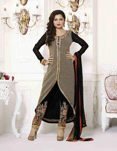 Drashti Dhami Black Georgette Designer Suit 59457