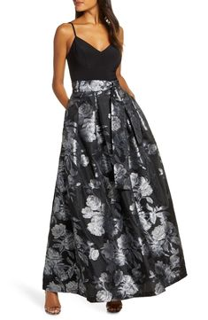 Women's Eliza J Jacquard Ballgown, Size 16 - Black Ball Gown Dresses, Fall Dresses, Bride Dresses, Black Tie Wedding Guests, Classic Cocktail Dress, Evening Gowns Online, Two Piece Gown, Ball Skirt, Long Sleeve Floral Dress