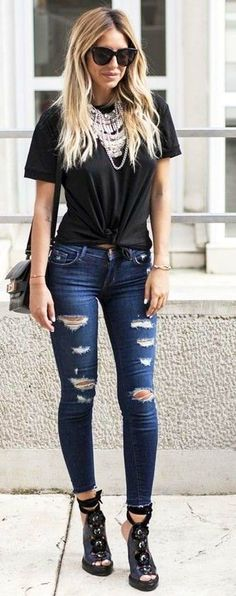 #summer #trending #style |  Black + Denim Rips
