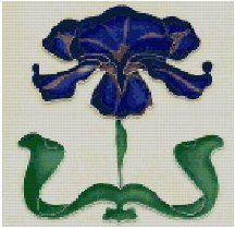 Counted cross stitch design.  Art Nouveau Tile. Blue Iris