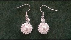 flower beaded earrings - YouTube