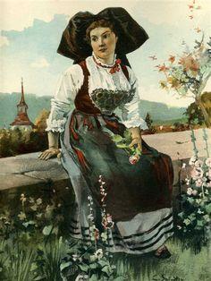 Spindler Girl around Brumath Alsace, Lorraine, French Costume, Alsatian, Saint Louis, Strasbourg, Illustration, Street Art, My Arts