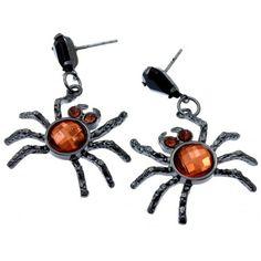 Orange Black Crystal Spider Halloween Earrings