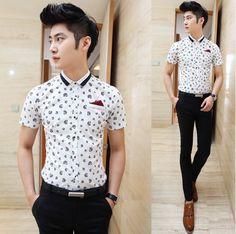 Man 2014 Summer Short-sleeve Fashion Shirt Slim Fit Charming Men Clothing Unique Print Shirt Cheap Price $23.58
