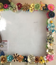 White board in flower power enamel brooches from the 60's
