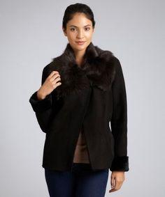 Blue Duck- lambskin shearling plush collar coat. $900.