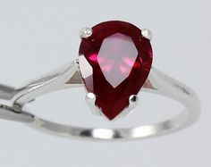 Sterling Silver Ruby Ring (Lab) July Birthstone / Pear Cut Ruby Ring Silver FREE RE-SIZING