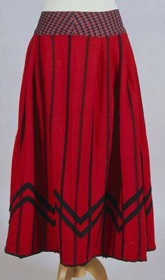 People's Collection Wales - Welsh costume: red flannel skirt with black stripes, 19th century
