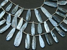 Superb-Finest Quality MYSTIC BLUE KYANITE Rough Shape Long Flat Pear Shape Chandelier, in a Size of 20mm.- 25mm. Great Price Rare Item.