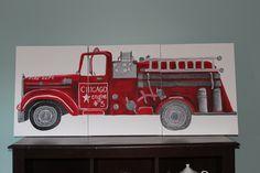 Custom Red Firetruck Painting Boys Nursery Art Like Pottery Barn Fire Truck