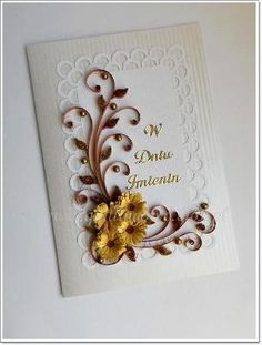 handmade card ... quilling ... spray of golden flowers and brown tendrils ... elegant look ... lovely card ...
