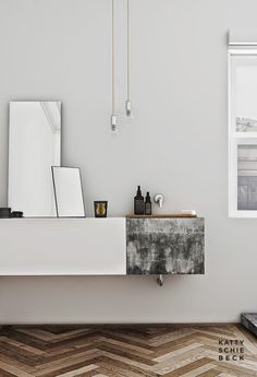 concrete basin incorporated into floating vanity
