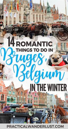 Bruges, Belgium is the most ridiculously romantic little medieval town in Europe ever. You can barely take a step without being swept off your feet by swans, horse-drawn carriages, chocolate shops, little lace shops, and other insanely cutesy things. Here's our list of the most adorable, things to do in Bruges in winter for couples! #Bruges #Europe #WinterTravel