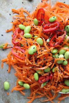 Carrot Salad with Chili Sesame Vinaigrette from @heatherchristo