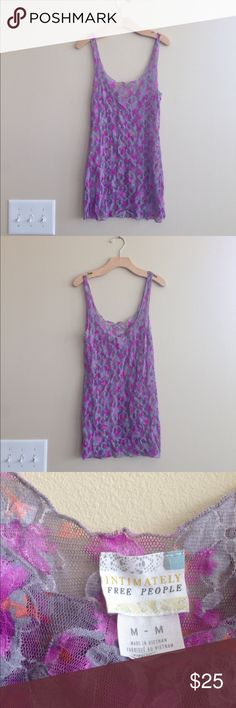 Free People Sheer Floral Tank Super cute Intimately Free People sheer lace top! It's stretchy and the colors really pop. Perfect condition! Medium. Free People Tops Tank Tops